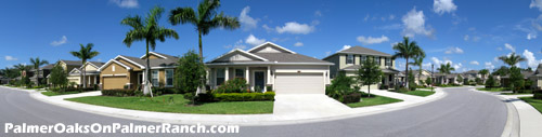 The single family homes at Palmer Oaks in Sarasota's Palmer Ranch developent have a pleasing, contemporary look.